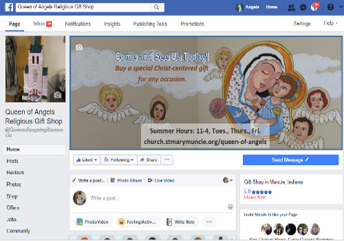 Facebook Page for Queen of Angels Religious Gift Shop